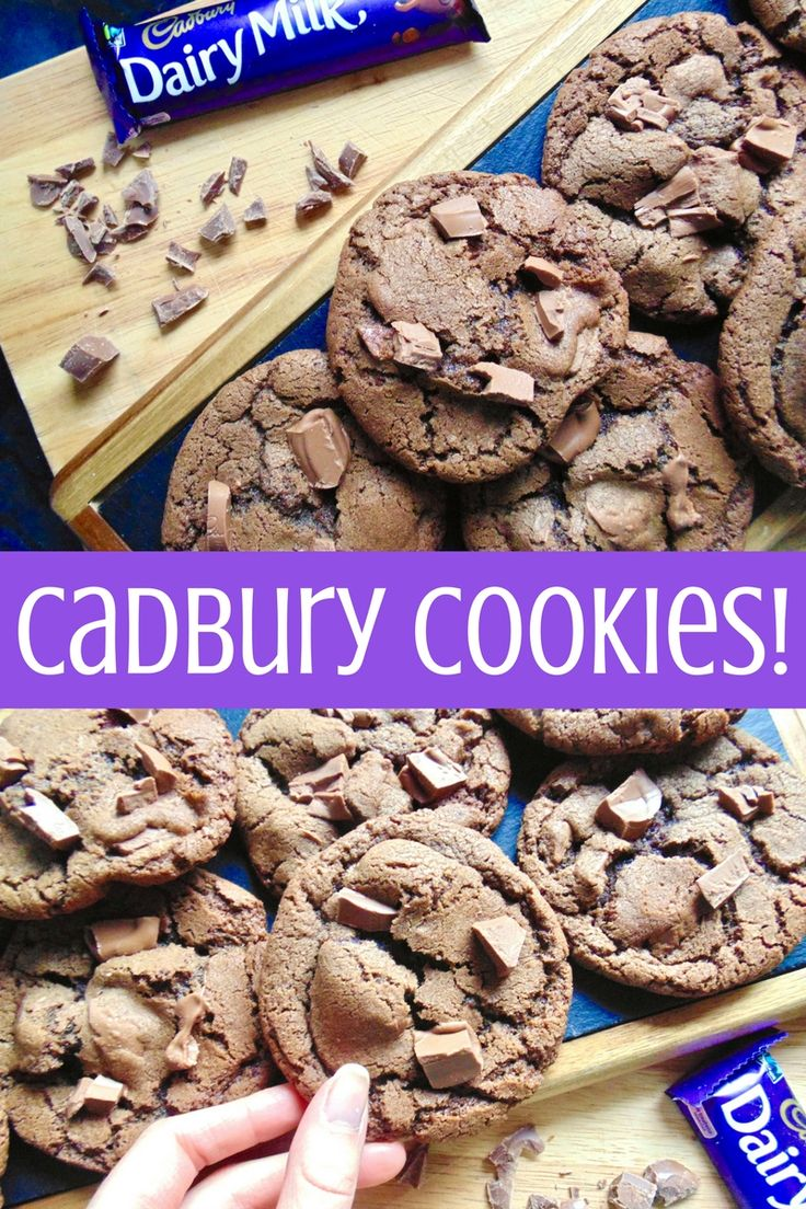 Cadbury Cookies! Crispy edged soft and chewy cookies crammed with chunks of Cadbury Dairy Milk chocolate!