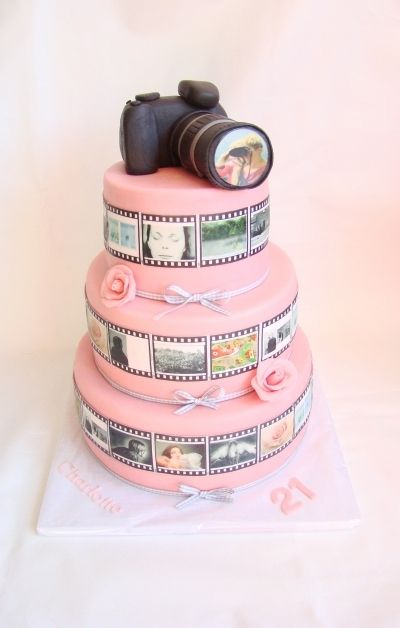 I love the idea of pictures going around the cake. Would be perfect for an anniversary cake!...