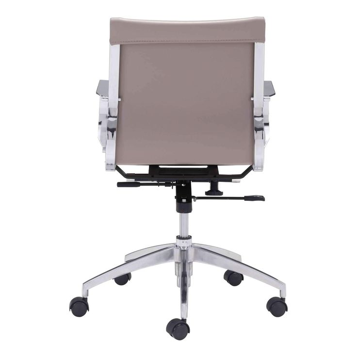 Glider low back office chair features a slim yet