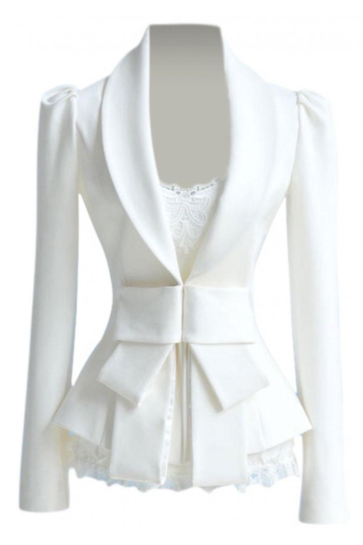 Elegant Womens Diamond White Tuxedo Jacket  Peak Lapel  Little Black Tux
