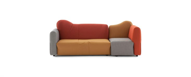 Upholstered units with individual forms, volumes and dimensions which can be used individually or linked together (except for the ottoman) as straight or angled combinations ad infinitum. The additional arm unit can be used to complete the combinations and can be linked to the right or to the left hand side of the various units. Plywood skeletal frame. Polyurethane foam padding. The fabric or leather covers are sewn together with a polyester padding and are completely removable. Each unit…