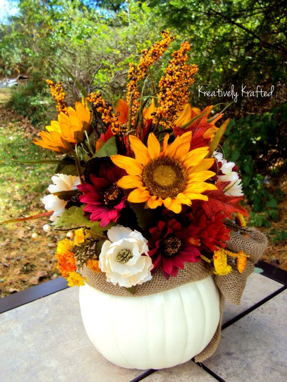 Autumn Fall Floral Pumpkin Centerpiece Arrangement Loaded with Fall Flowers and Color Sunflowers White Pumpkin