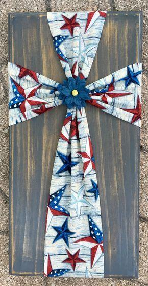 Fabric cross on wood American flag American by SleepCreateRepeat