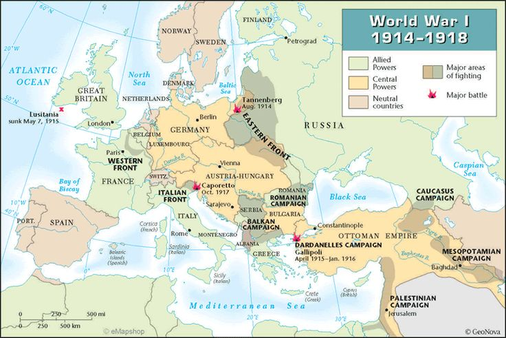 This map shows the fronts and major battles on the European ...