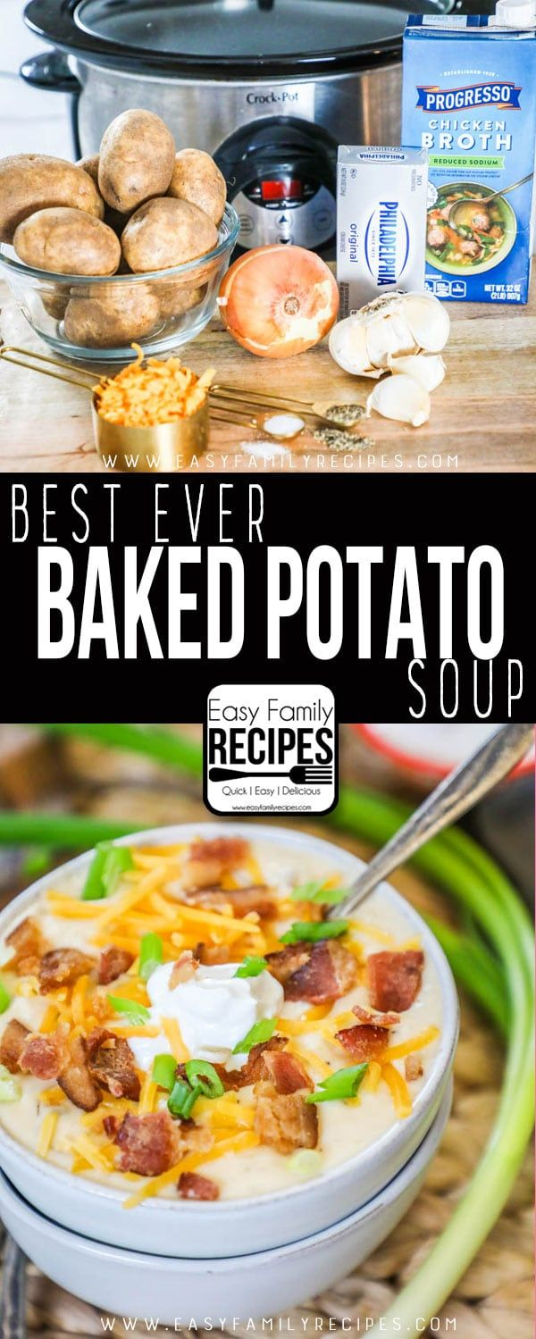 The BEST Crockpot Loaded Potato Soup- tried 3/4/18- so yummy! We used milk instead of cream and it was still thick - also didn't measure the potatoes, so that could have been it! Topped it with bacon and cheese. #roganapproved -Caiti