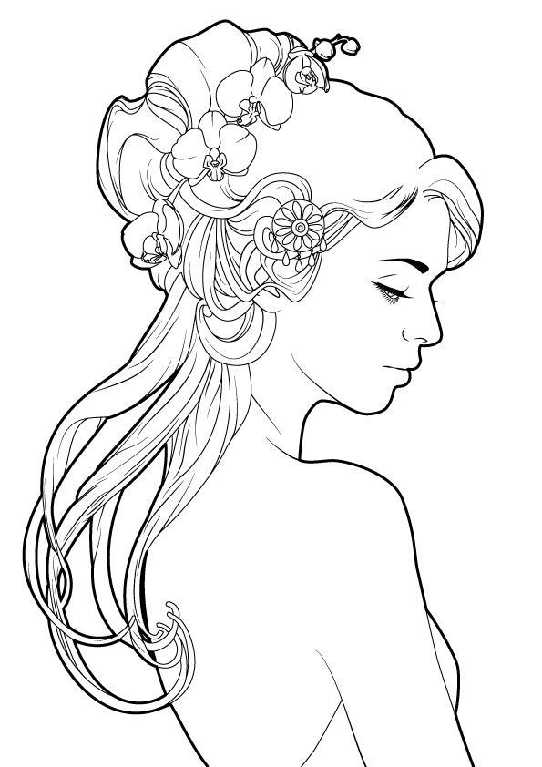 Line Art Hair : Ebe bff ea e dd db c girl with flowers in her