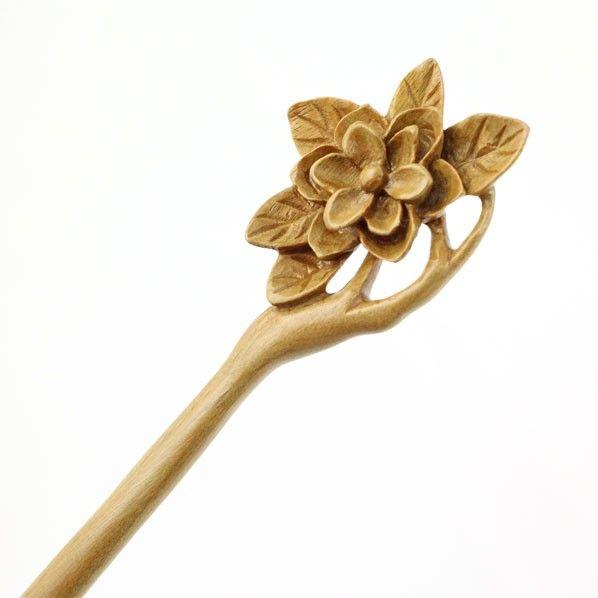 CrystalMood Handmade Carved Wood Hair Stick Lignum-Vitae Magnolia