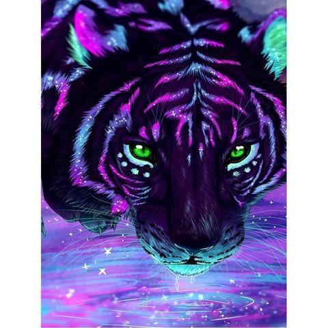 Spring Sale Purple Tiger Diy 5d Diamond Painting