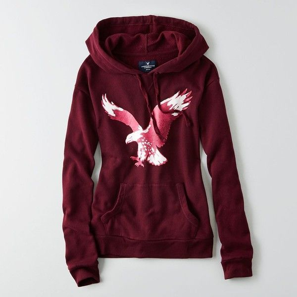 AEO Factory Signature Graphic Hoodie (34 CAD) ❤ liked on Polyvore featuring tops, hoodies, berry jam, tie top, pink hoodies, graphic hoodies, hooded pullover and hooded sweatshirt