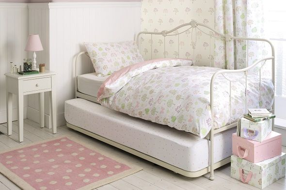 Ivory metal day bed with trundle guest bed