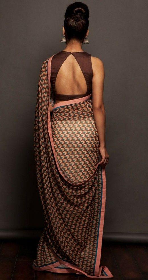 Sober chocolate saree blouse back