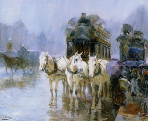 A Rainy Day in Paris- Ulpiano Checa (Colmenar de Oreja ( Madrid). 1860-1916)