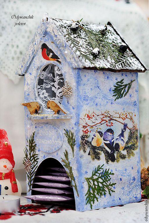 Купить Чайный домик декупаж Зима - белый, зима, природа, чайный домик