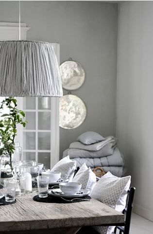 Grey Dining Room In A Danish Home Pendant Light Decorative Pillows