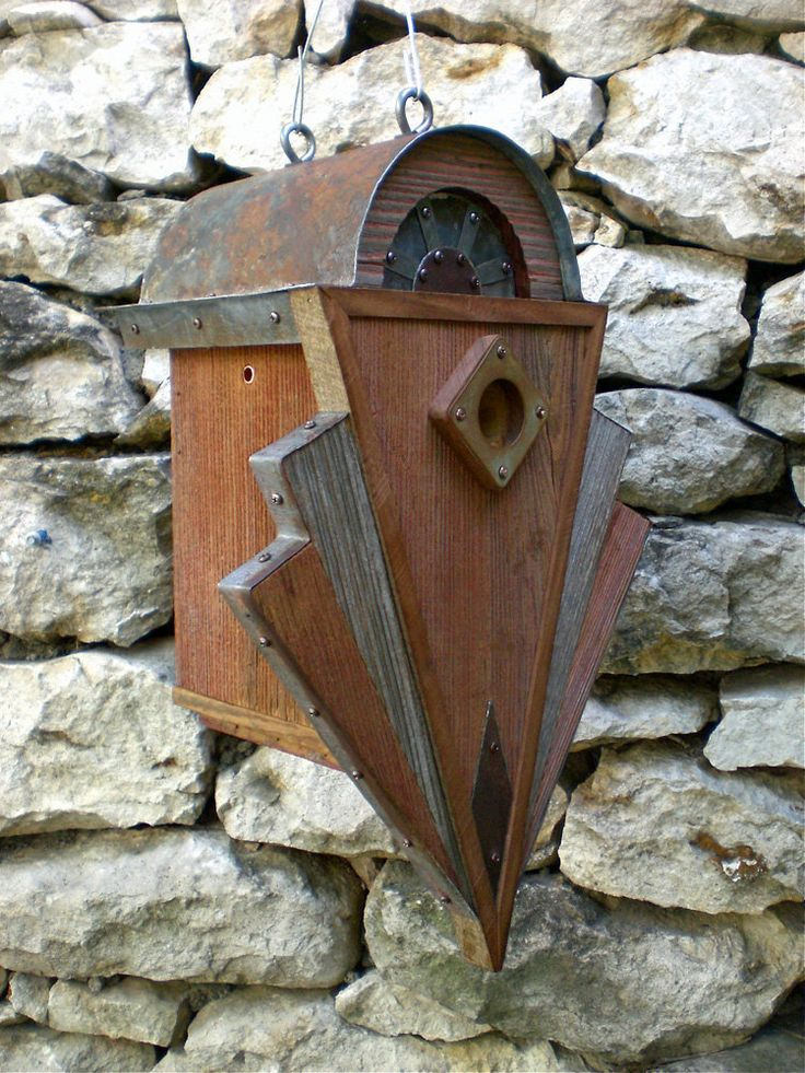 Art Deco Birdhouse Made of Reclaimed Barn Wood by Roundhouseworks, $200.00