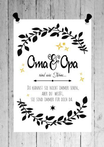Druck Fine Art Bild Poster Oma Opa Sind Sterne Print Shabby