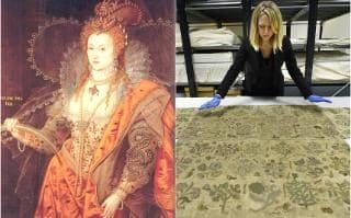 Elizabeth I, The Rainbow Portait, c. 1600 and the skirt which can now be viewed at Hampton Court