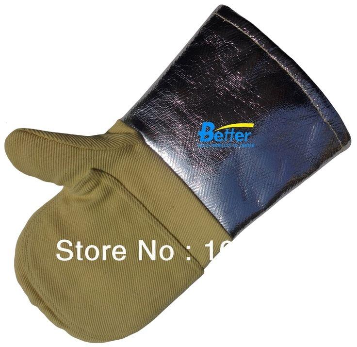 66.00$  Buy here - http://alibto.worldwells.pw/go.php?t=561970180 - Aramid Fiber Twill Fabric With Aluminium Foil 700 Centigrade Degree Heat Resistant  Work Gloves 66.00$