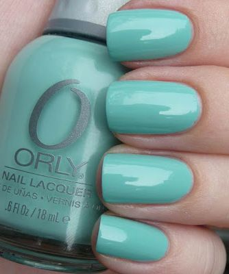 Orly Gumdrop - mint green / pastel turquoise #nail polish / lacquer / vernis, swatch / manicure