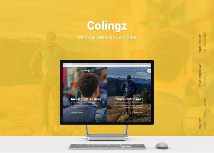 Colingz - Personal Website Template [Free PSD]