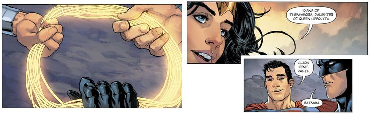 Batman & Superman hold Wonder Woman's lasso of truth - and say their real name - Imgur