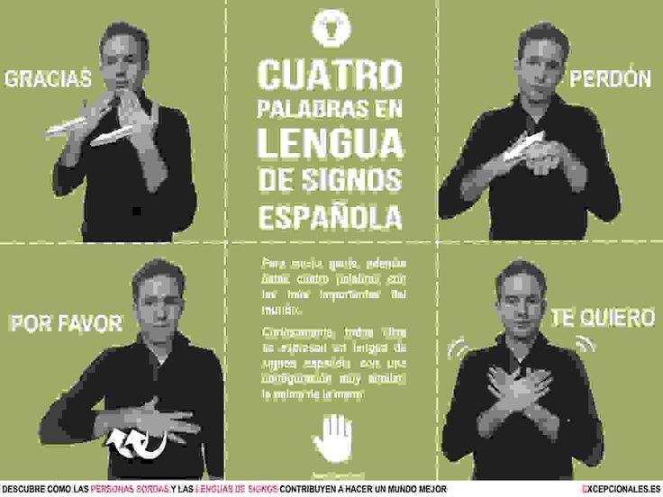 Infografía: las cuatro palabras en lengua de signos española que todo el mundo debería saber. También disponible aquí: http://www.excepcionales.es/2016/12/infografia-cuatro-palabras-en-lengua-de.html