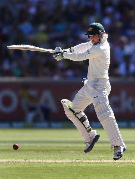 Phil Hughes of Australia hits the ball during day one of the Second Test match between Australia and Sri Lanka at Melbourne Cricket Ground on 26 Dec 2012