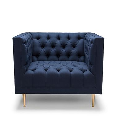 TUX CHAIR BY STUART SCOTT | Special Edition. Shown here upholstered in navy wool (100% British). Legs are machine turned in solid brass.  Hand signed and individually numbered.  stuartscott.co.uk