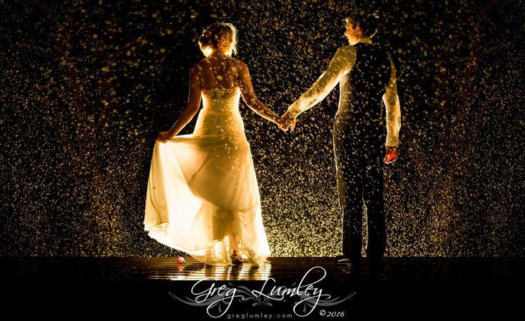 Night photoshoot in rain by wedding photographer Greg Lumley
