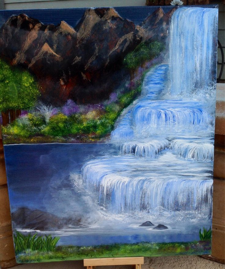 Original 16 X 20 Acrylic Painting On Canvas Quot Waterfalls I