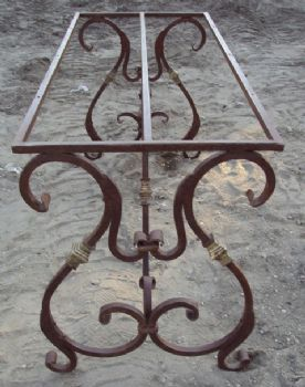 Wrought iron table .