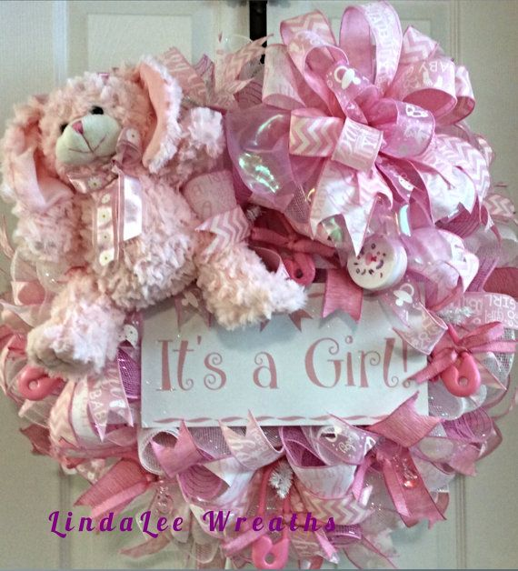 It's A Girl Wreath, Baby Girl Wreath, Baby Shower Gift, Nursery Room Wreath, Deco Mesh Wreath, Pink & White Wreath, LindaLee Wreaths, Pretty
