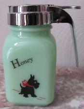 Honey Dispenser w/ RB Scottie Scotty Dog - Jade Jadeite Jadite Milk Green Glass