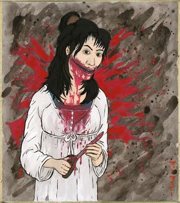 "In Japanese mythology, Kuchisake-onna (""Slit-Mouth Woman"") is a woman who is mutilated by a jealous husband and returns as a malicious spirit."