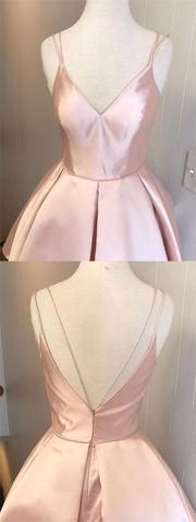 Simple Pink Spaghetti Straps V-Neck V-Back A-Line Short Homecoming Dresses, Cheap Homecoming Dresses Under $100, Hot Sale Homecoming Dresses, VB01172 Simple Pink Spaghetti Straps V-Neck V-Back A-Line Short Homecoming Dresses, Cheap Homecoming Dresses Under $100, Hot Sale Homecoming Dresses, VB01172