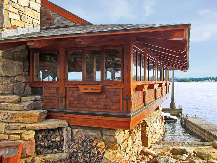 Side Of House Boat Shelter : Images about lakeside timber frame home boat