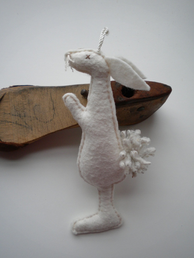 Winter White RABBIT Snow BUNNY Woodland by BlueRidgeMercantile