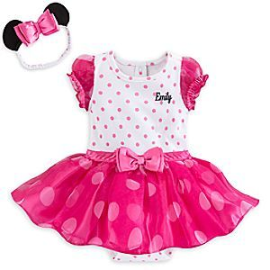 Minnie Mouse Pink Bodysuit Costume Set for Baby - Personalizable | Disney Store Your little one will enjoy the spotlight dressed up in our Minnie Mouse Pink Bodysuit Costume. Featuring layers of polka dot tulle and pink satin, it includes an ear headband so she'll have the starring role.