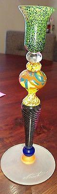 """Loan #NEMTOI Romanian Tall Glass Candleholder 16"""", Contemporary Art Glass #COLLECTORSITEM #RARE"""