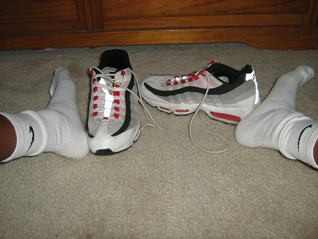 red, black, and gray air max 95s with nikes socks     I just found this great offer:  Free Nike Air Jorden!  Last 20  If you like Nike Air Jordan shoes,here  some free  ones!