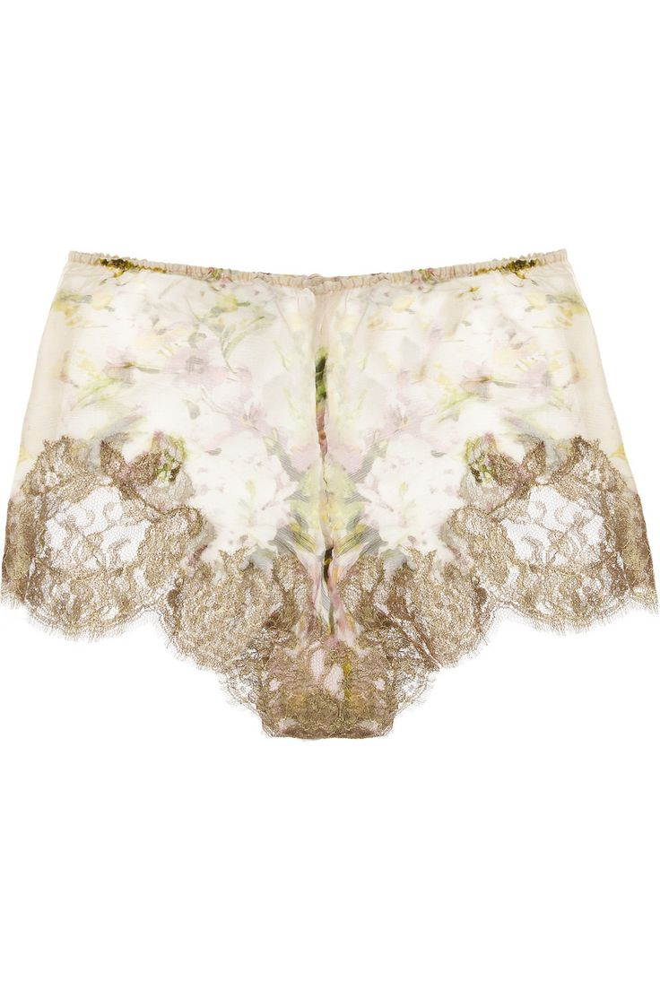 Rosamosario|Classica Bellezza silk-creponne and lace French briefs|NET-A-PORTER.COM