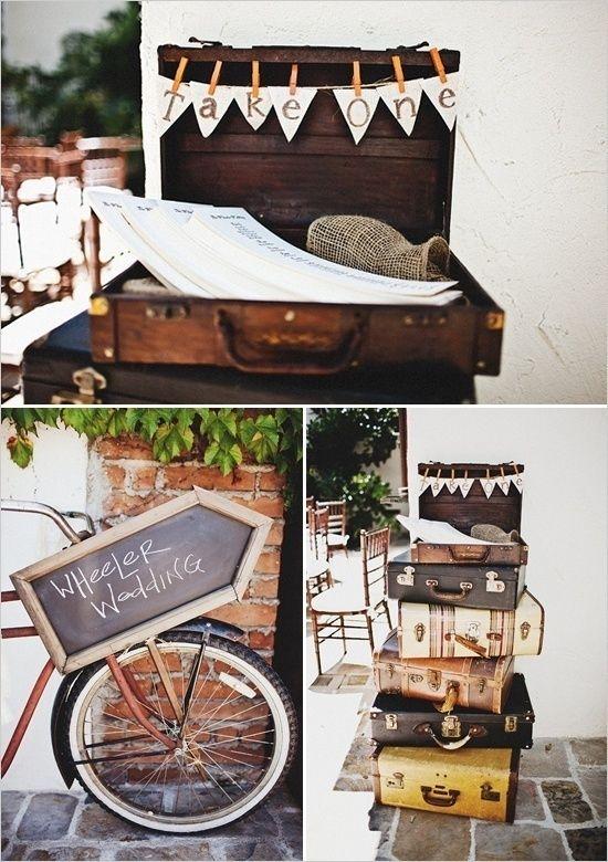 suitcases | burlap | chalkboard #rusticwedding #hummingbirdevents