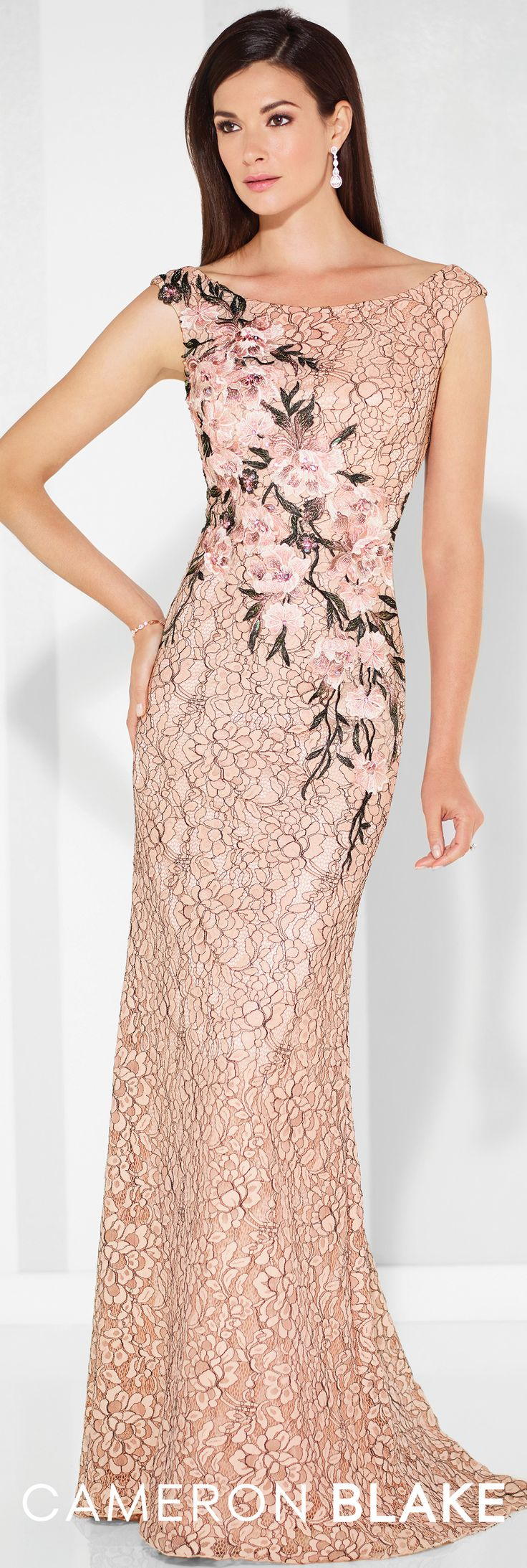 Formal Evening Gowns by Mon Cheri - Spring 2017 - Style No. 117607 - blush pink floral lace and tulle fit and flare evening dress with slight cap sleeves
