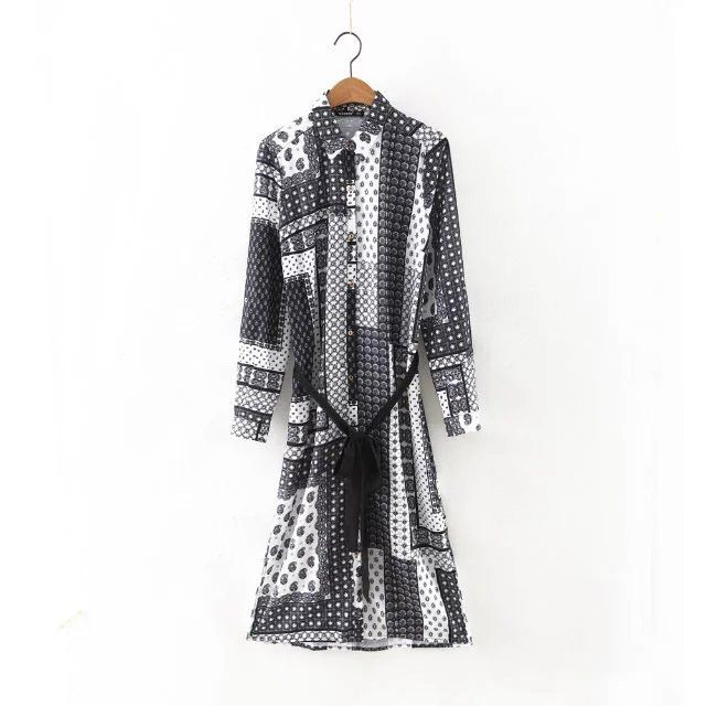 New Fashion Long Sleeve Shirt Dress European Style Printed With Belt Slim Long Dress