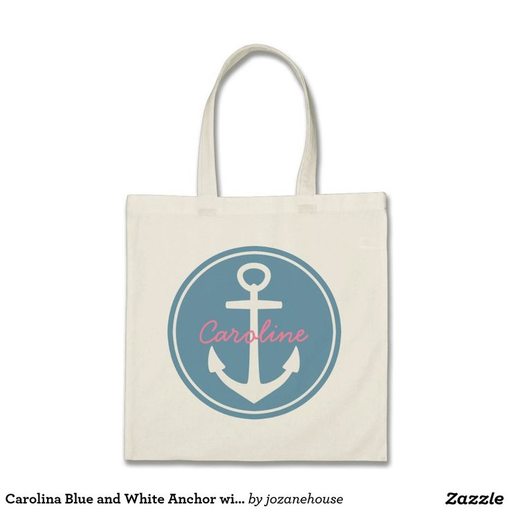 Carolina Blue and White Anchor with Happy Pink