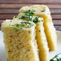 Rice Dhokla: The all-time favorite Gujarati snack made with rice flour, suji and mild spices. Light and lovely!