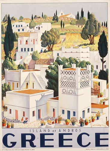 Vintage travel poster of island of Andros Greece designed by G. Moschos, 1949 #kitsakis
