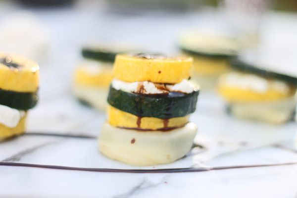 Grilled zucchini squash stack with mozzarella goat cheese balsamic drizzle