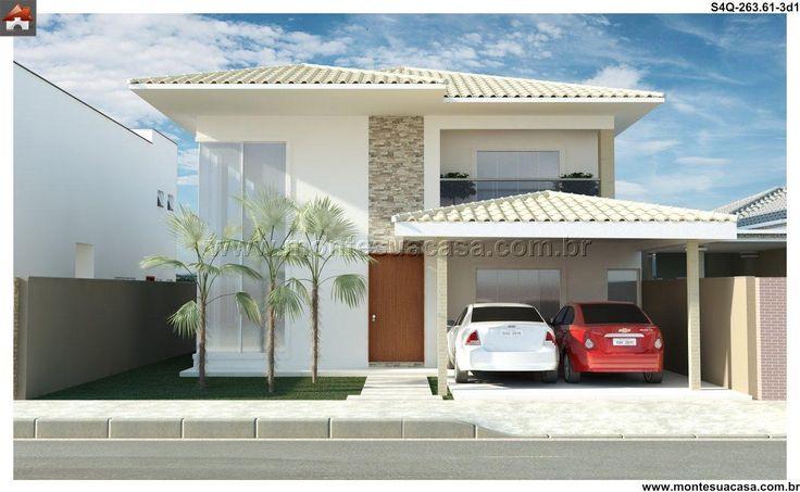 Planta de Sobrado - 4 Quartos - 263.61m² - Monte Sua Casa