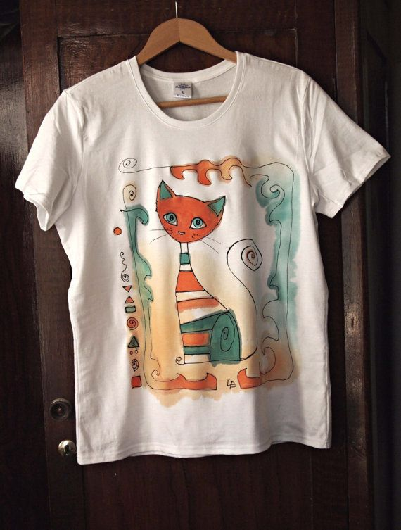 Hand painted Tshirt  The Orange Cat by AHouseAtelier on Etsy, $40.00